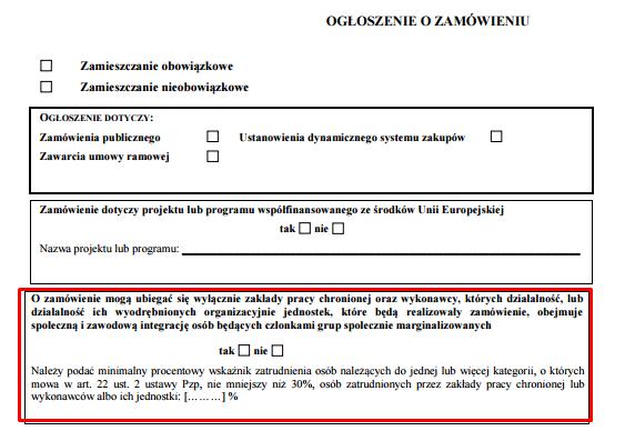 pierwsza strona wzoru ogłoszenia o zamówieniu (klauzula społeczna na podstawie art. 22 ust. 2 prawa zamówień publicznych)